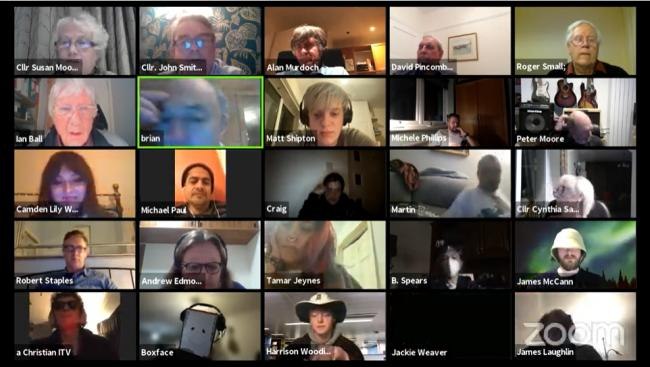 How the meeting looked on Zoom, with over 80 people in attendance