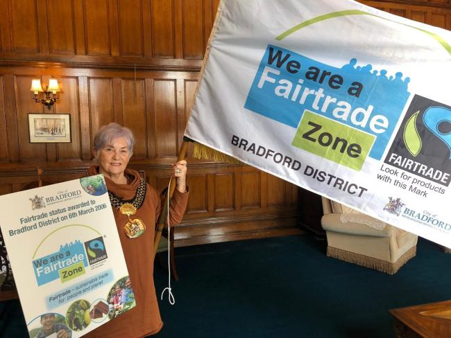 Lord Mayor of Bradford, Keighley councillor Doreen Lee, flies the flag for fairtrade