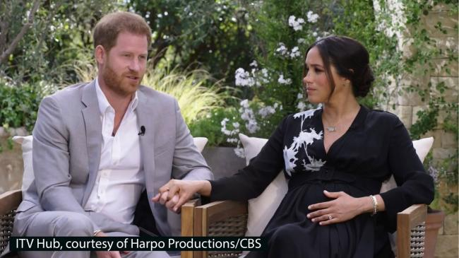 Screen grab photo supplied by ITV Hub courtesy of Harpo Productions/CBS of the Duke and Duchess of Sussex in Oprah interview