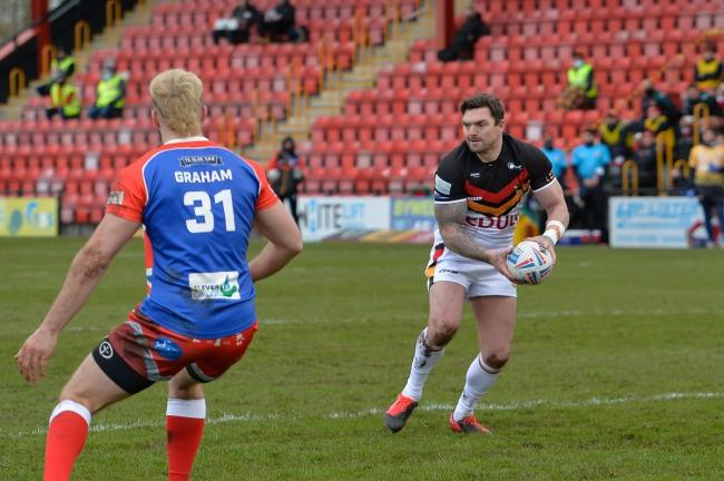 Danny Brough was once again at the heart of most of Bulls' best work yesterday. Picture: Tom Pearson.