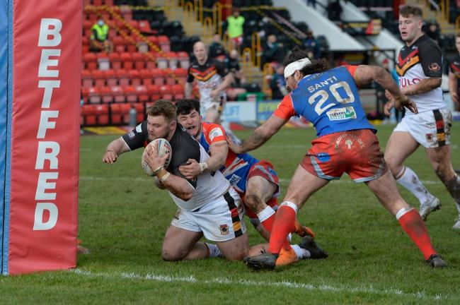 Anthony Walker scoring the winning try against Keighley last week. Picture: Tom Pearson.