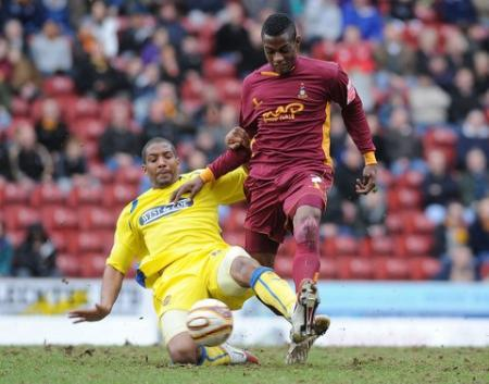 Action from Bradford City's game with Dagenham.