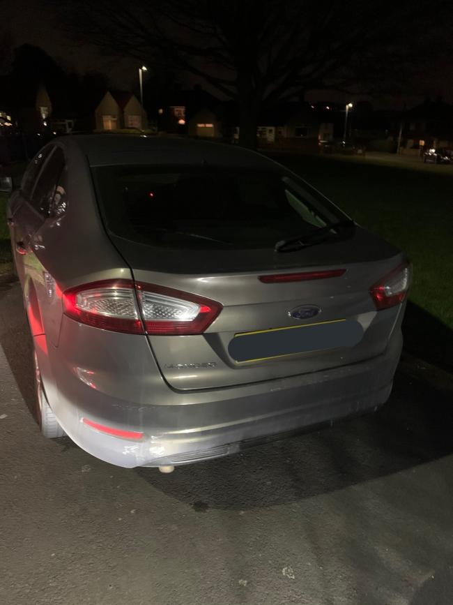 The Ford Mondeo seized after being left abandoned. Pic: Twitter