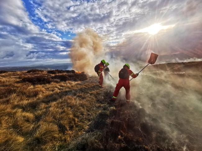 The West Yorkshire Fire and Rescue Service thanked its on-call firefighters for helping to extinguish the Marsden Moor fire. Picture: WYFRS