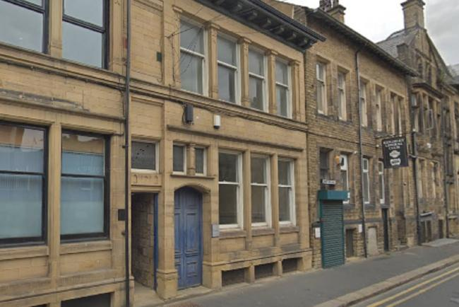 The proposed bar/cafe (with the blue door) on Scott Street in Keighley