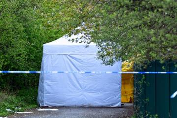 Police cordon and forensics tent still in place at Myra Shay