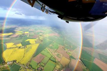 Aircraft spots natural phenomenon known as circle rainbow