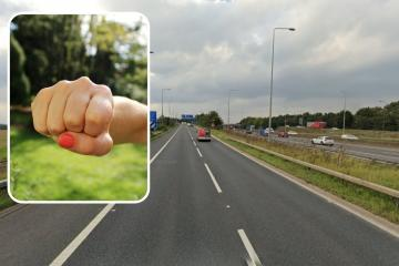 M62 road rager tailgated car, overook then punched driver