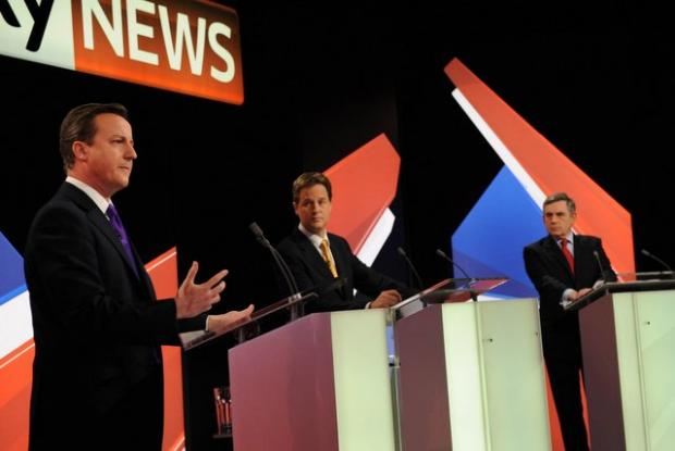 David Cameron (left), Nick Clegg (centre) and Gordon Brown at Thursday night's televised debate