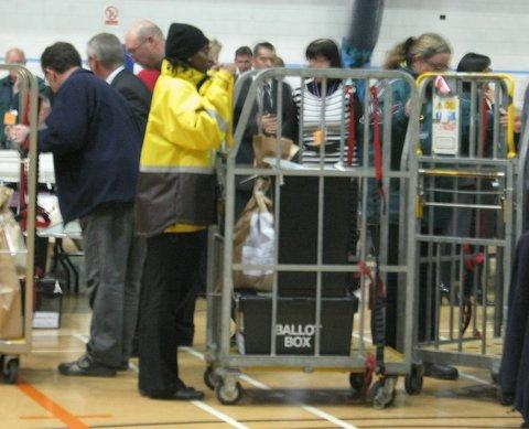 Ballot boxes arriving at the Richard Dunn Centre