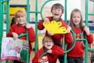 Pictured are six-year-olds who tackled a shapes puzzle, Freya Kopasz, William Plant, Wyatt Revell and Ilona Kopasz
