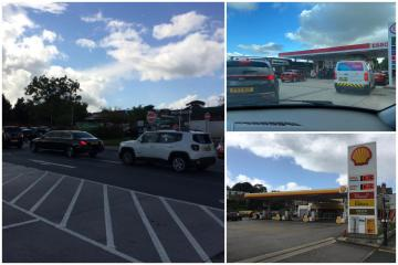 Fuel crisis queues in Bradford at BP,. Shell and Morrisons