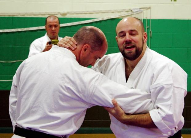 Sensei Iain Abernethy gives a demonstration on a visit to Ilkley Karate Club