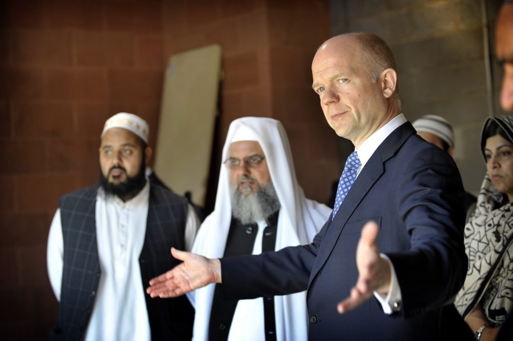 Foreigh Secretary William Hague visits the Suffa Tul Islam Central Mosque