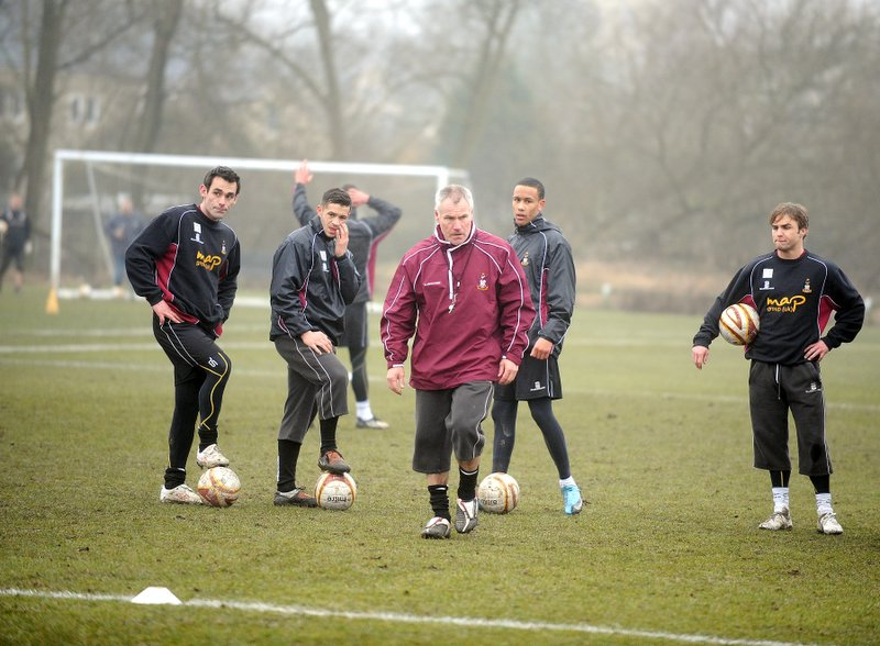 The Bantams will not be moving to Leeds after all, Peter Taylor (pictured with last season's squad at Apperley Bridge) has revealed
