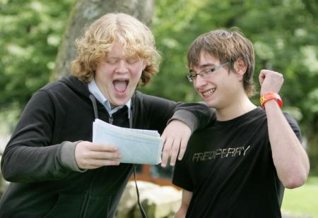 Peter Hitchen and Wiliam Carr look amazed as they pick up their A-level results at Craven College.