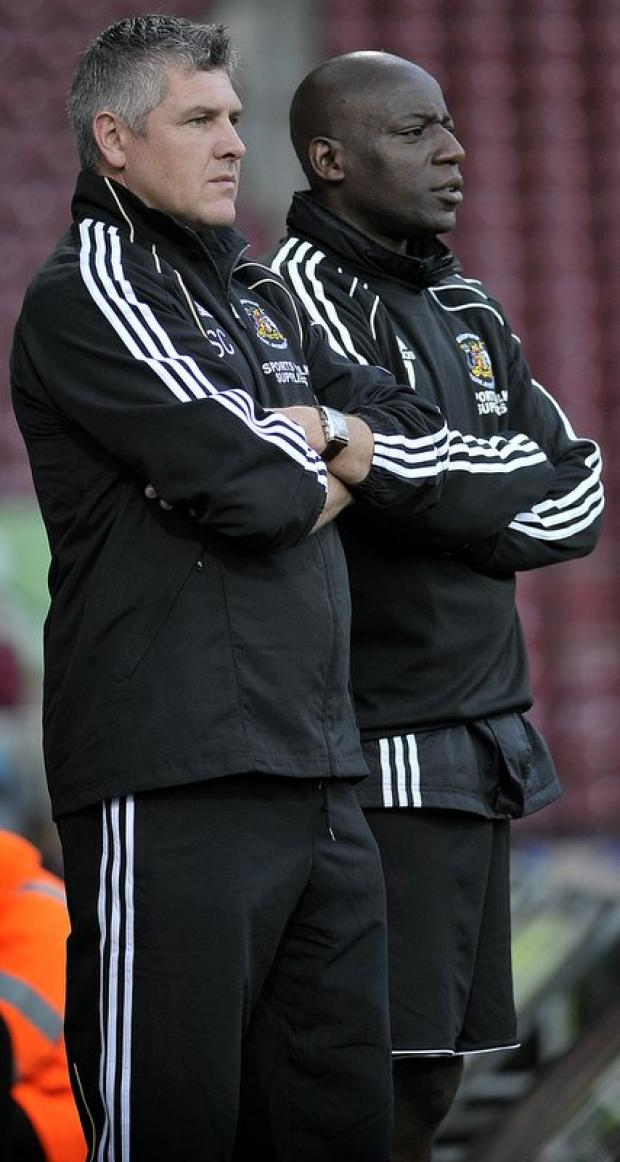 Simon Collins, left, and Chris Billy were in the Huddersfield Town team that won promotion at Wembley