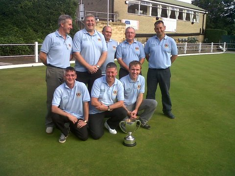 Clayton A with the Pairs KO trophy. Back, from left: Ian Briggs, Paul Gill, Paul Kaye, Tony Riley, Nigel Breadley; front: Martin Smith, Phil Lister, Steve Wilkinson