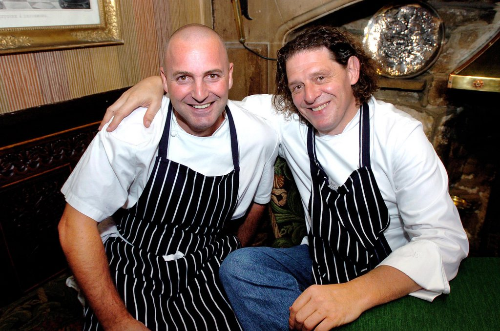 Simon Gueller (left) and Marco Pierre White at the Box Tree