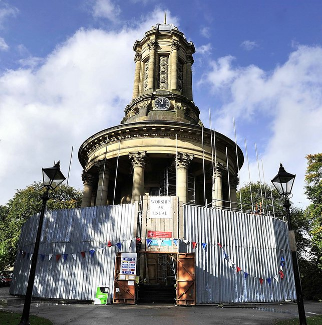 Bradford Telegraph and Argus: Scaffolding around Saltaire UR Church