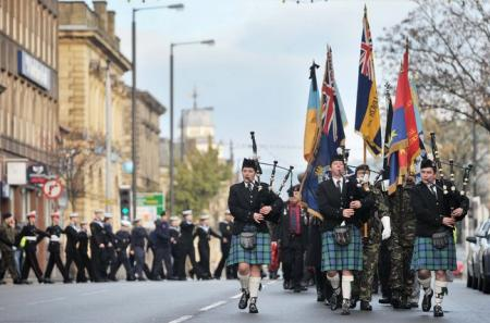 The Remembrance Day Parade at Keighley.