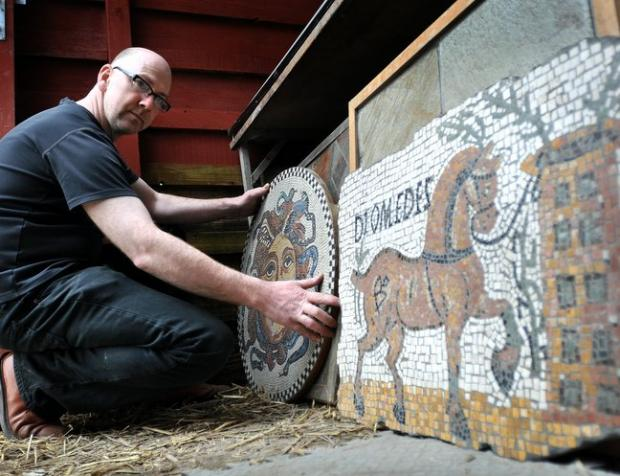 David James with some of his mosaic creations