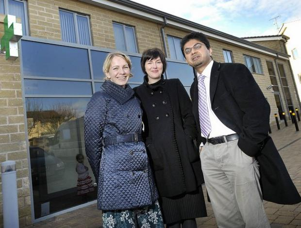 Pictured outside the new health centre are, from the left, Dr Sarah Whitfield, practice manager Angie Nicholson  and Dr Aziz Hafiz