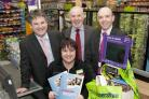 Pictured are Philip Davies, Peter Marks, and commercial manager Richard Quinn with Vikki Mulvey