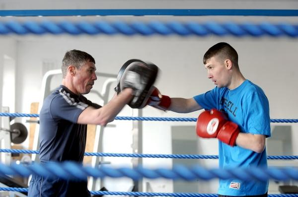 Shaun Doherty in training with dad John at Huggy's Gym in Bradford