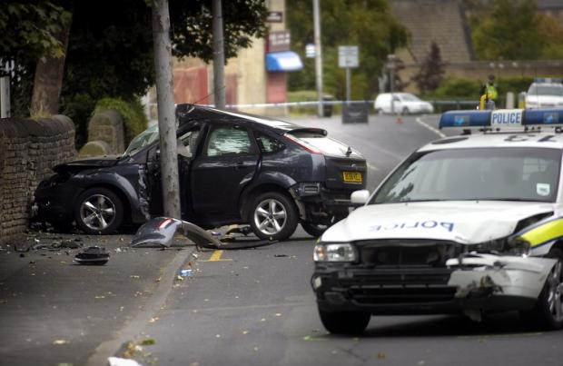 A collision involving a police vehicle in Legrams Lane, Bradford