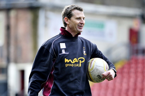 Colin Cooper takes a training session at Valley Parade yesterday