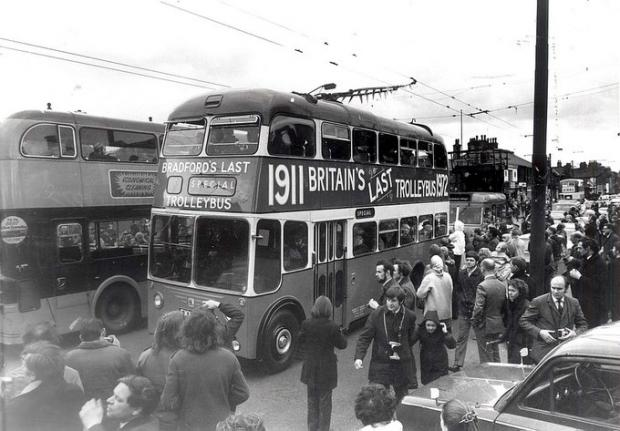 Bradford Telegraph and Argus: Bradford's last trolleybus arrives back at Thornbury on March 26, 1972