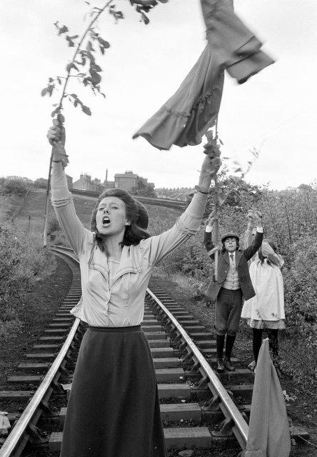 Jenny Agutter on the bridge in the filming of The Railway Children