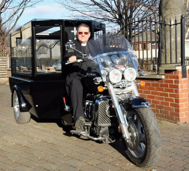 The Reverend Ray Biddis is aiming for the fastest motorbike hearse record