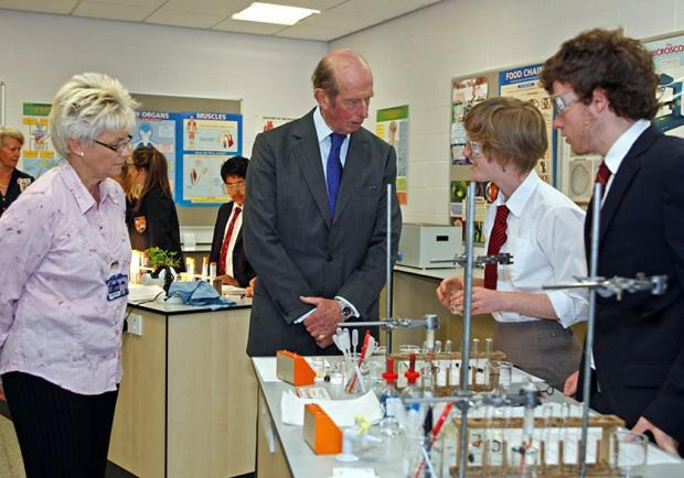 The Duke of Kent talks to pupils at Bradford Grammar School