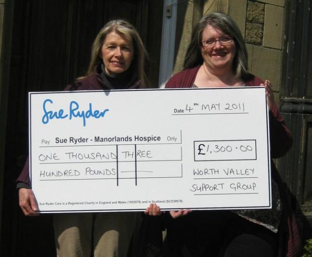 Gail and Ann Wiles with the cheque