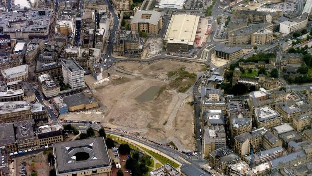 Bradford city centre with the empty Westfield site