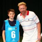 DREAM BID: Jeremiah Bavington, pictured with Boris Becker at the Ball Kids trial, is hoping to be picked for the ATP finals