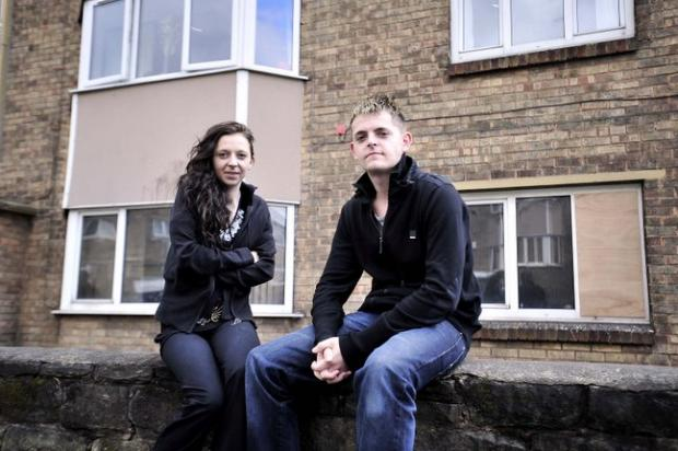 Charlotte Gibson and Kevin Hollis at the block of flats