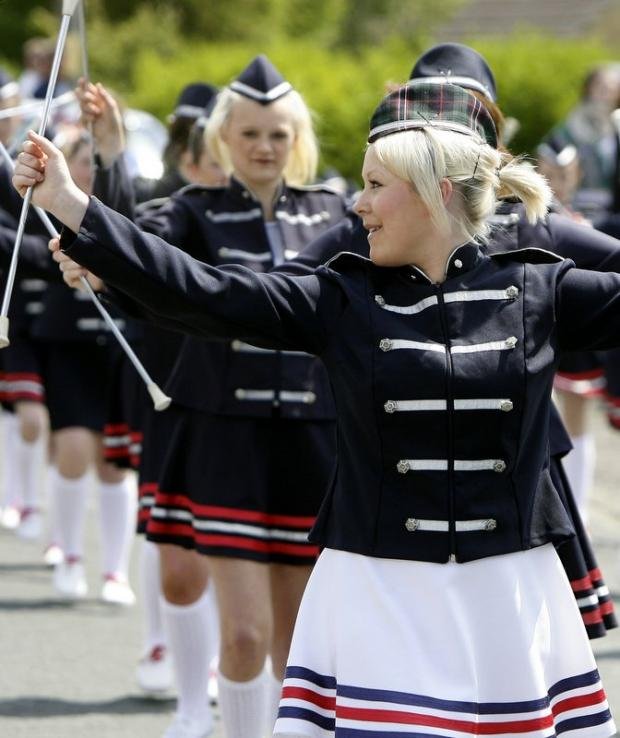 Baton twirlers entertain the crowds at Riddlesden Gala