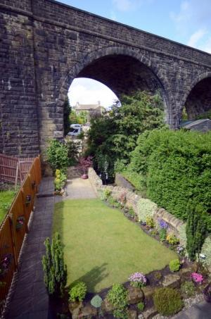 The viaduct at the bottom of the Cain family home's back garden