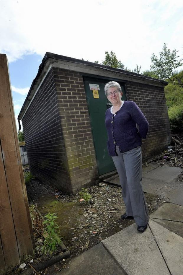 Coun Kath Pinnock outside the affected substation