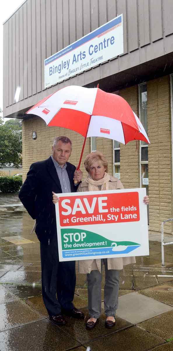 Campaigners Mick Meares and Caroline Illingworth outside the Bingley venue which they want to use