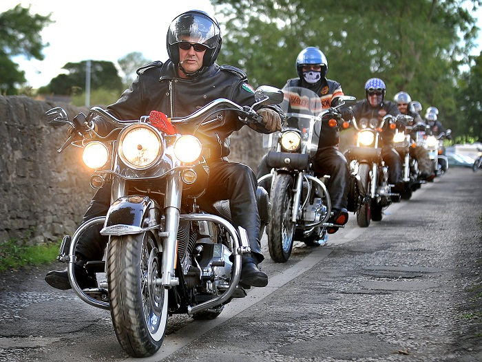 Members of the Shipley Harly club line up at Baildon  on their Harley Davidson machines
