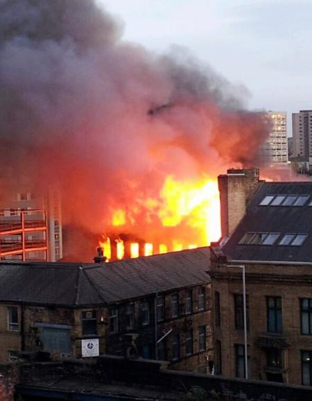 Reader's submitted pictures from this evening's fire at a mill off Thornton Road