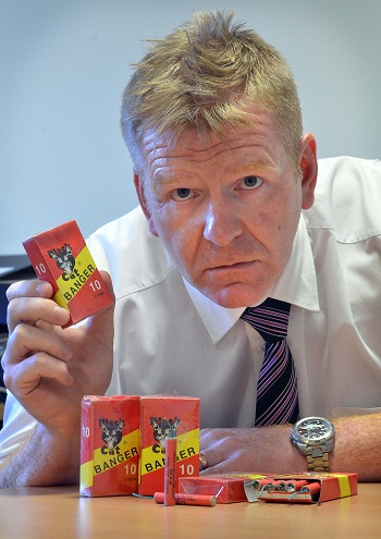 Trading Standards' Dave Lodge with some of the counterfeit bangers