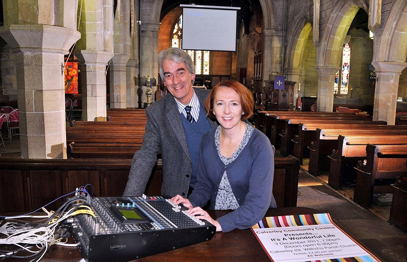 Gael Timbers and the Rev John Walker set up the community cinema at St Wilfrid's Church in Calverley