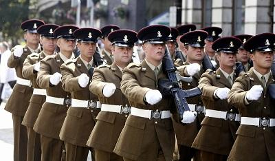 SUPPORT: Members of the 3rd Battalion, the Yorkshire Regiment, on parade in Cavendish Street, in Keighley