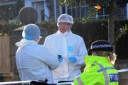 Forensic officers at the scene of the blaze