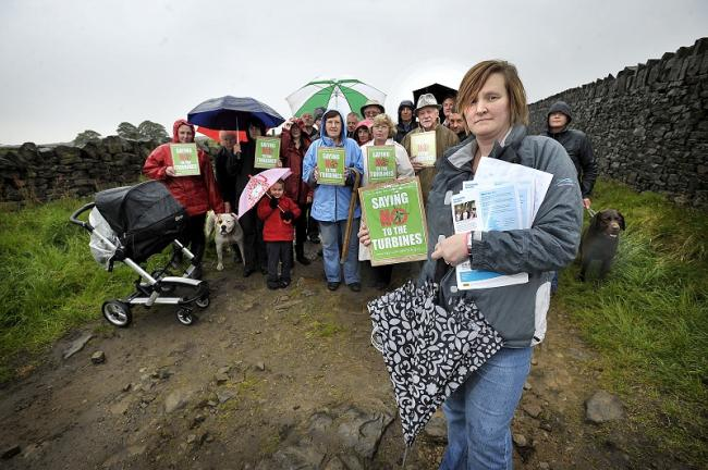 Anthea Orchard (front) with other wind farm protesters from Thornton